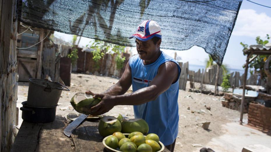 Ein Fischer der Fischereikooperative Base Pescera Canhizo in Guama mit Kokosnuessen am 24.05.2013. A fisherman offers coconuts in the fishing cooperative Base Pescera Canhizo in Guama